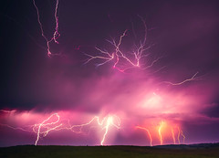 Landscape image of lightning thunder-storm (Lukjonis) Tags: storm weather lightning sky nature thunderstorm thunder cloud stormy light power danger dark rain strike energy bolt dramatic blue flash bright background night thunderbolt climate electricity electric striking summer dangerous powerful rainstorm shock charge clouds awe force nobody outdoors city moody outdoor overcast extreme plasma dazzle bad atmosphere town glow