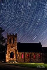 Trailing the Heavens (NYRBlue94) Tags: stone church night star trails sky dark
