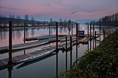 Fort Langley canoes (rdpe50) Tags: landscape evening boats canoes water docks pilings river fraserriver fortlangley bc elitegalleryaoi bestcapturesaoi
