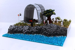 LEGO Star Wars: Rebel Hangar Base on Dantooine MOC! (Izavagooba) Tags: lego star wars legostarwars battle rebel base dantooine rockwork rock work tree technique tutorial atst terrain mountain grass hangar empire imperial