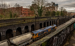 Between the walls (Peter Leigh50) Tags: train cement ketton track wall brick locomotive gbrf town city building station sky trees railway railroad rail road fujifilm fuji xt2