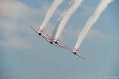 Bottom Of The Roll (Fly Sandman) Tags: aerobatics aerobatic aeroshellteam diamond formationflight airshow airplane aircraft t6 at6 texan ottumwa iowa smokeon sky clouds