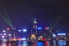 Symphony of Lights - Hong Kong (Joao Eduardo Figueiredo) Tags: hong kong china nikon d3x night neon symphony lights joaofigueiredo joaoeduardofigueiredo laser boat junco