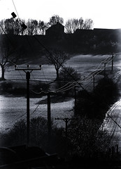 Autumn View (Malc '64') Tags: powerlines fields ossett westyorkshire england farm uk silhouette trees sunlight blackandwhite monochrome