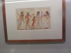 Egyptian fresco, Musicians.  CaixaForum, Madrid, June 2018 (d.kevan) Tags: exhibitions caixaforum ancientinstruments displaycabinets june2018 madrid spain exhibits egyptian fresco musicians