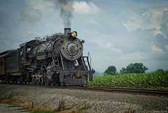 Choo-choo.... (Joe Hengel) Tags: choochoo strasburg strasburgpa railroad train tracks pennsylvania pa lancastercounty strasburgrailroad field sky clouds steam steamengine steamtrain landscape