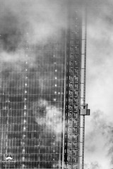 Rising Through the Clouds (allentimothy1947) Tags: highline hudsonyards newyorkstate architecture bw blackwhite buildings cloudy construction down elevator highrise memorial newyorkcity rain skyscraper up