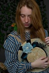 Ari and Natsu (© Rocío Ponce) Tags: rocioponcephoto rocioponcecom rocioponce rocioponcephotography victorian edwardian indrolita birdsandfresia agaporni bird flowers studio