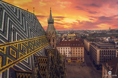 Vienna skyline at sunset from the roof of St Stephen's cathedral - Vienna (Austria) (Juan María Coy) Tags: wien viena vienna austria samyang10mmf28edasncscs canon7dmarkii sunset atardecer ststephenscathedral catedral iglesia cathedral churche architecture arquitectura city ciudad landscape paisaje turismo tourist tourism canon cielo sky