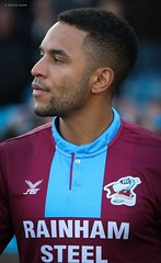 funso ojo - Scunthorpe United (SteveH1972) Tags: football footballplayer player portrait shirt footballshirt soccer soccershirt claretandblue claret blue face person people northlincolnshire lincolnshire glanfordpark uk europe northernengland britain outside outdoor outdoors 2018 scunthorpeunited