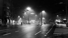 Auf dem Weg zur Arbeit (Toni_V) Tags: iphone xr zürich schweiz switzerland night nacht nebel fog mist winter city stadt urban street adobelightroomcc ©toniv 2018 bw blackwhite schwarzweiss monochrome apple 181218 absoluteblackandwhite bwartaward iphoneography