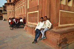 Fort Friends (Pedestrian Photographer) Tags: agra fort men boys male friends corner hat shadow silhouette eric red sit sitting india indians students
