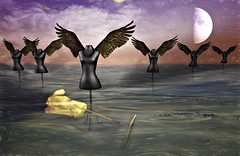 The fallen God (Ladmilla) Tags: mannequins sea water art surrealism exhibition artexhibition theedgeartgallery sl secondlife moon clouds landscape digital digitalart gallery wings