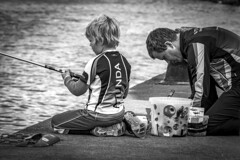 Boy are fishing in Nacka, Sweden 10/9 2017. (photoola) Tags: nacka barn fiskare sv child boy photoola sweden stockholm fisherman monochrome blackandwhite