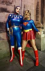 Latex Supergirl and Wonder Woman at SWAMP on Sunday (Miss Nina Jay) Tags: latex cosplay rubber