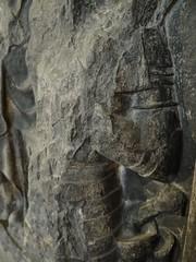 1414 - 'Pierre de Herselle (+1414) & Jehanne de Vionne (+1442)', former cemetery Saint-Nicaise, Arras, Musée des Beaux-Arts, Arras, dép. Pas-de-Calais, France (roelipilami (Roel Renmans)) Tags: 1414 1442 pierre de herselle jeanne jehanne vionne adrien arras cemetery saint nicaise musee beaux arts des france pas calais wall mounted memorial church monument funéraire grabmal tournai stone armor armour armure harnas rüstung fauld lames spaulder spaudler besagew sword hilt grip gauntlet couter wing pommel gothic 15th century sculpture funerary cimetiere museum calvaire calvary crucifixion john baptist peter jean baptiste st greave helmet helm bascinet buckle grand spaliere