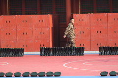 Ready for cadet ceremony inside the forbidden city (Big_five) Tags: beijing forbidden city army boots caps red cases
