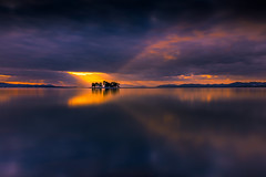 sunset 0659 (junjiaoyama) Tags: japan sunset sky light cloud weather landscape orange yellow blue color lake island water nature winter reflection calm dusk serene