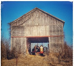 gimme shelter...(HTT) (BillsExplorations) Tags: tractors old vintage barn crib shelter gimmeshelter hill harvest autumn farmmachinery illinois oldtractor casetractor