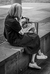Handbag (rrfaris1957) Tags: escher woman monochrome handbag art street hands skancheli