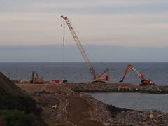 Straight Ahead. (HivizPhotography) Tags: weldex liebherr lr1500 lifting heavy crane crawler hitachi ex1200 cat 390f excavator harbour aberdeen expansion ahep rock granite northeast northsea uk scotland