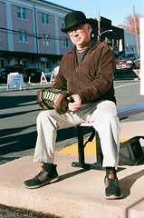 Portrait at the City Market (davekrovetz) Tags: concertina music musician market nikon nikonfe kodak kodakektar portrait citylife