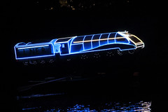 Starlight Express (6079 Jones, P) Tags: matlock bath derbyshire dales peakdistrict eastmidlands england greatbritain uk 2018 illuminations light night dark lowlight venetianboatbuildersassociation boat row river derwent canon eos 1200d canonef55200mm telephoto zoomlens train railway lner img1827 reflection
