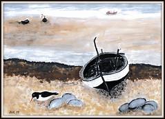 Boot am Strand (antje whv) Tags: malerei painting kunst art boote books strand beach vogel bird austernfischer
