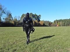 (Gabriela Brown) Tags: rubber latex gummi outdoor outside black girl woman frau catsuit boots maske gasmaske full enclosure heavy