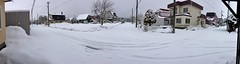 Snow in the Morning (sjrankin) Tags: 16march2019 edited panorama snow roads houses cars lines wires weather clouds kitahiroshima hokkaido japan