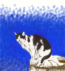 fellix (Isaszas) Tags: dessin croquis sketch refuge cat chat blue bleu blackandwhite noiretblanc felix