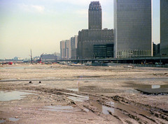 Exploring the sheer expanse of the Battery Park City landfill. Just 10 years earlier, this was the Hudson River. World Trade Center, abandoned West Side Highway, NY Telephone and the new Independence Plaza North towers. New York. April 1974 (wavz13) Tags: oldphotographs oldphotos 1970sphotographs 1970sphotos oldphotography 1970sphotography vintagephotographs vintagephotos vintagephotography filmphotos filmphotography newyorkphotographs newyorkphotography newyorkphotos oldnewyorkphotography oldnewyorkphotos vintagenewyork vintagemanhattan oldnewyorkphotographs vintagenewyorkphotography vintagenewyorkphotographs vintagenewyorkphotos 110film kodacolor analogphotography manhattanskyline newyorkskyline newyorkskyscapers manhattanskyscapers oldmanhattan urbanphotography urbanphotos manhattanphotography urbanlife newyorklife manhattanlife lowermanhattan lowerwestside city newyorkwestside manhattanwestside tribeca urbanskylines skylines cities urban construction constructionphotography constructionphotos twintowers oldnewyork exploration
