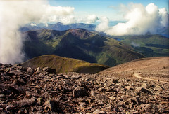 Ben Nevis, Looking to the South, Scotland (rocinante11) Tags: scotland bennevis film filmcamera fujifilm fujireala clouds landscape mountains scree
