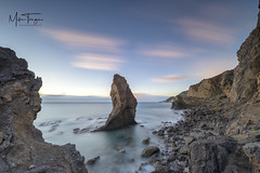Pastel piedra. (miketonge) Tags: piedradelsomberico rock pinnacle piedra sunset sky pastel pink spain almeria