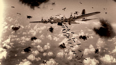 Bombs Away (Wes Iversen) Tags: b17 hss michigan sliderssunday thunderovermichigan wwii willowrunairport wings worldwarii yankeelady ypsilanti aircraft airplanes blackandwhite bombing bombs composites flak grain monochrome propellers vintage war veteransday