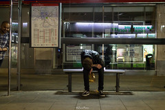 Bus Stop Street Sleeper, Kingston Upon Thames (LFaurePhotos) Tags: kingstonuponthames londonbynight streetsoflondon busstop lfaurephotos sleeping southwestlondon streetphotography