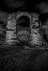 Dudley Priory_M-8833 (timbertree9) Tags: greyscale blackandwhite monochrome mono colour dudley dudleycouncil westmidlands priory sky skyatnight architecture historic ruins eng unitedkingdom central hdr dark darksky stars clouds lighting shadows stone