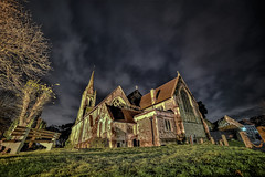 night service (Paul Wrights Reserved) Tags: chuch churches night nightphotography nighttime nikon d750 highiso cloud clouds cloudscape wideangle angled graveyard beautiful tower building buildings architecture religious religion