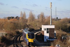 THE END OF ANOTHER TYPE (Malvern Firebrand) Tags: adelante unit 180103 5car dmu fgw gwr class180 180xxx vehicle transport railroad worcestershire evesham 151217 box mast 2017 signalbox rural countryside scenic working 1p29 1200 worcester foregate street london paddington great western railway service trains telephoto winter
