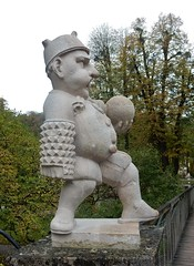 Dwarf with Fat Belly (mikecogh) Tags: salzburg mirabellpalace gardens dwarf statue fat comical