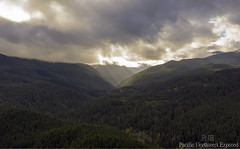 Olympics 0085B (All h2o) Tags: sun sunbeams rays olympic mountains olympics sky clouds forest pacific northwest peninsula wilderness tree trees nature landscape hasselblad camera mavic two pro mountainside mountain wood