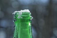 Bottleneck (erichudson78) Tags: macro canonef100mmf28lmacroisusm smileonsaturday bottleneck canoneos6d bouteille bottle green vert snow neige
