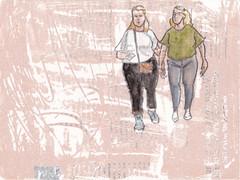een nieuwe serie tekeningen, 15x20cm karton, horizontaal en dit is #022 (h e r m a n) Tags: herman illustratie tekening 15x20cm tegeltje drawing illustration karton carton cardboard kunst art horizontal landscape stel couple tweevrouwen twowomen