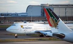 Air Namibia  747 'V5-NMA' (Longreach - Jonathan McDonnell) Tags: scan scanfromaslide 2000s 2001 londonheathrow egll boeing 747 747400 a9ckb a330 v5nma