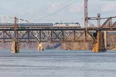 18-7839 (George Hamlin) Tags: maryland perryville havre de grace susquehanna river bridge railroad passenger train amtrak northeast regional atk 96 truss span overhead electric catenary siemens locomotive acs64 639 budd amfleet coaches water sky piers photo decor george hamlin photography