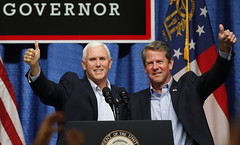 Vice President Mike Pence and Georgia gubernatorial candidate Brian Kemp greet a crowd at the Columbia County Exhibition Center in Grovetown, Georgia, Nov. 1, 2018. Pence traveled to Dalton, Grovetown and Savannah to campaign for Kemp. (Photo/Vira Halim)