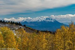 A View of the Henrys (Ralph Earlandson) Tags: coloradoplateau utah fallcolors desert henrymountains uthighway12 clouds mountain aspen tree snow