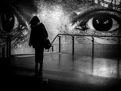Sous les yeux de JR ... (kitchou1 Thanx 4 UR Visits Coms+Faves.) Tags: exterior paris street people autumn bw europe france world nb