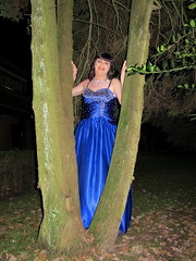 Tree trunks (Paula Satijn) Tags: girl lady dress gown ballgown satin silk shiny skirt blue garden outside chic classy posh elegant happy smile joy fun peasure girly feminine sparkly beads sweet pretty cute night