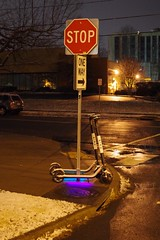 Bird scooters (davekrovetz) Tags: snow k70 pentax citylife night lights bird scooter birdscooter electricscooter transportation